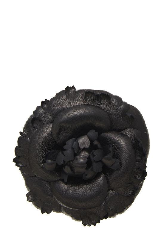 Black Leather Camellia Brooch, , large image number 0