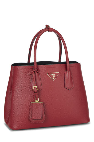 Red Saffiano Double Bag Small, , large