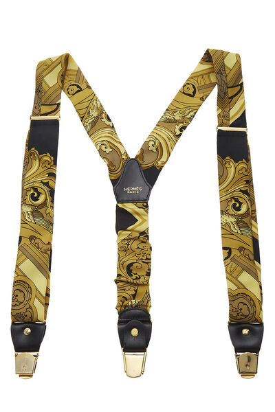 Yellow & Black Silk Motif Suspenders, , large