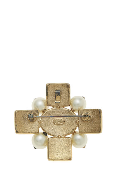 Faux Pearl & Gold Gripoix Cross Pin, , large