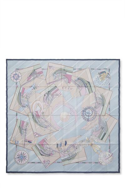 Grey & Multicolor 'Face Au Large' Silk Scarf 90