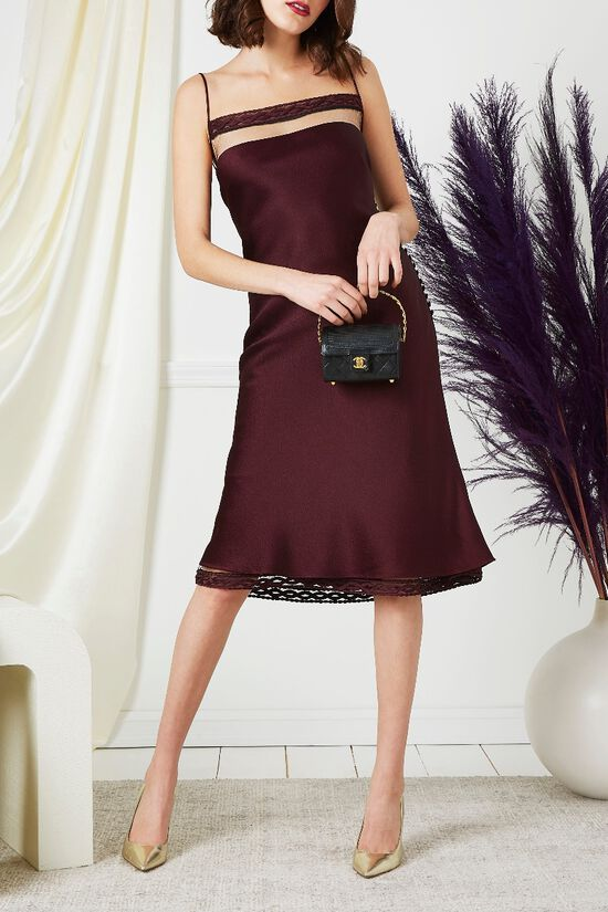 Purple Drop Chest Satin Dress, , large image number 4