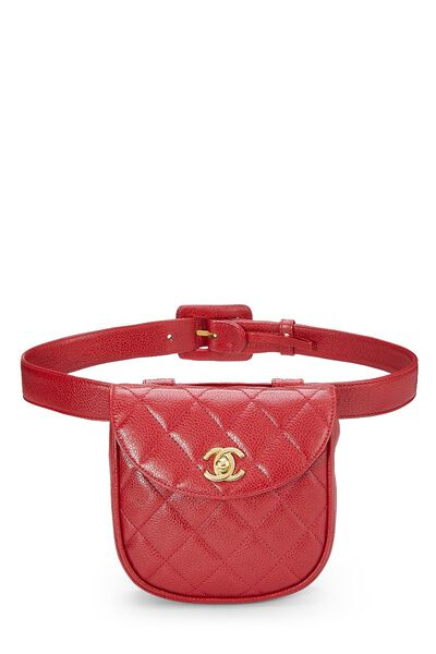 Red Quilted Caviar Belt Bag 32