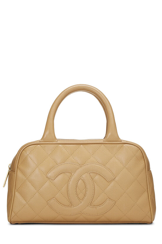 Beige Quilted Caviar Bowler Mini, , large image number 0