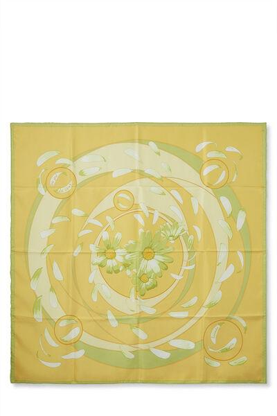 Yellow & Multicolor 'Au Gré du Vent' Silk Scarf 90