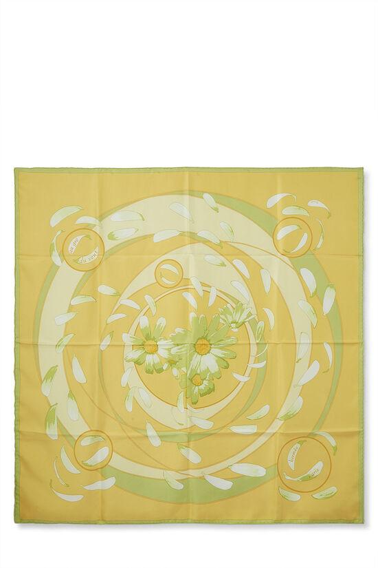 Yellow & Multicolor 'Au Gré du Vent' Silk Scarf 90, , large image number 0