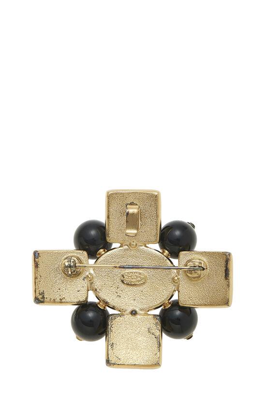 Gold & Black Gripoix Cross Pin, , large image number 1