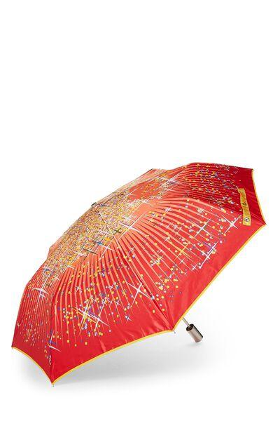 Red Nylon Dot Motif Umbrella