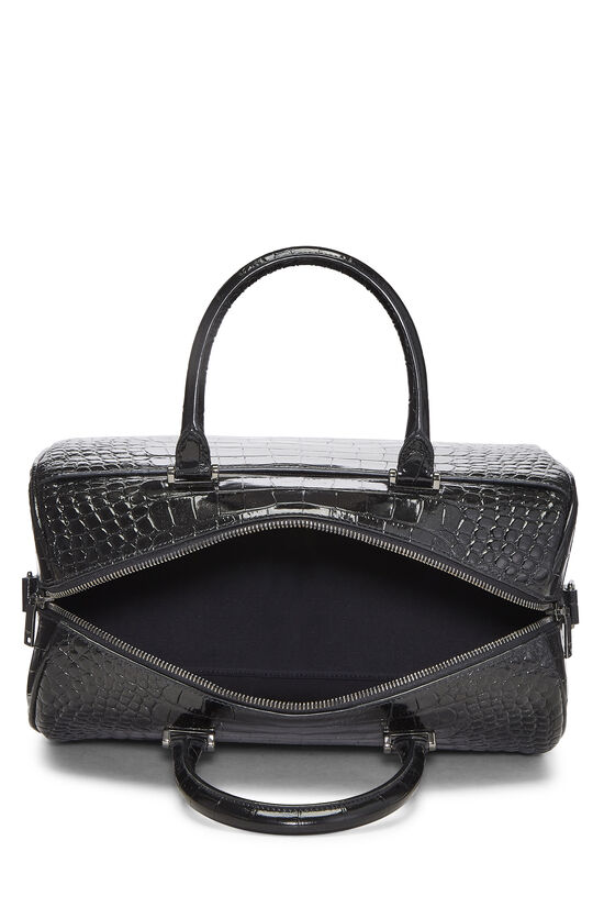 Black Embossed Leather Convertible Boston Bag, , large image number 6