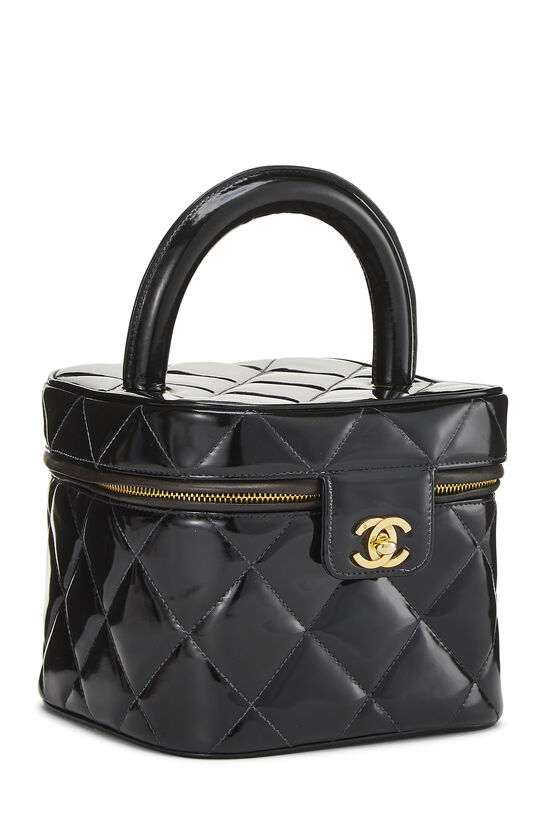 Black Quilted Patent Leather Vanity, , large image number 1
