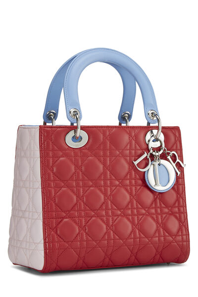 Multicolor Cannage Quilted Lambskin Lady Dior Medium, , large