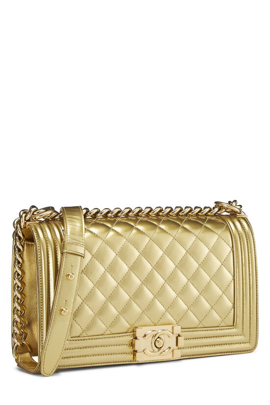 Gold Quilted Patent Leather Boy Bag Medium, , large image number 2