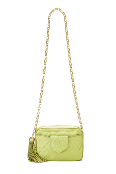 Green Quilted Satin Pocket Camera Bag Mini, , large
