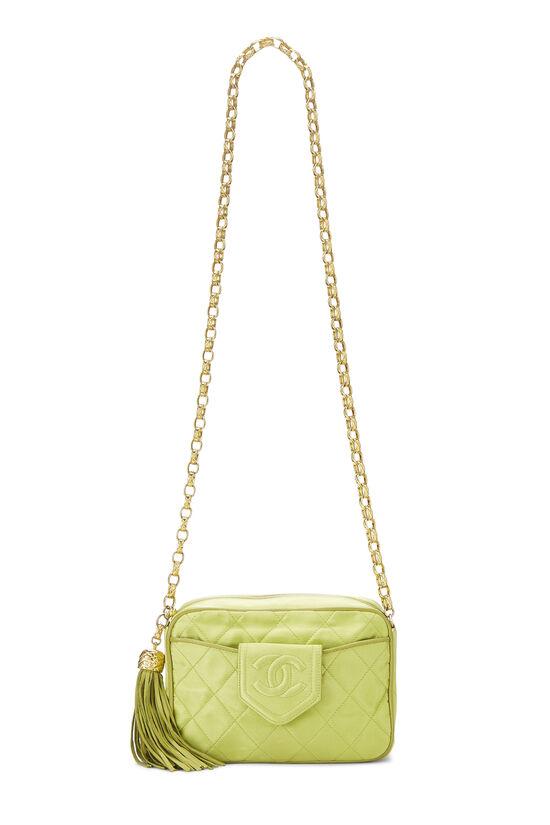Green Quilted Satin Pocket Camera Bag Mini, , large image number 1