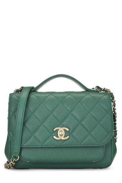 Green Quilted Caviar Business Affinity Bag Medium