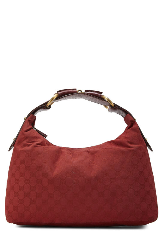 Red GG Canvas Horsebit Hobo, , large image number 0