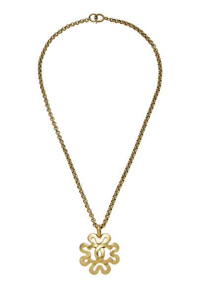 Gold 'CC' Curved Border Necklace