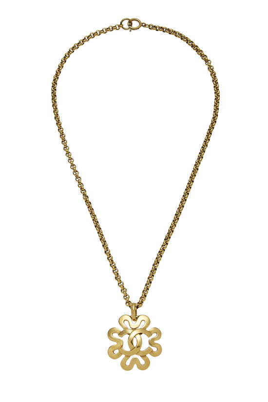 Gold 'CC' Curved Border Necklace, , large image number 0