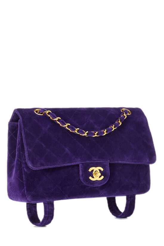 Purple Quilted Velour Magazine Flap Medium, , large image number 1
