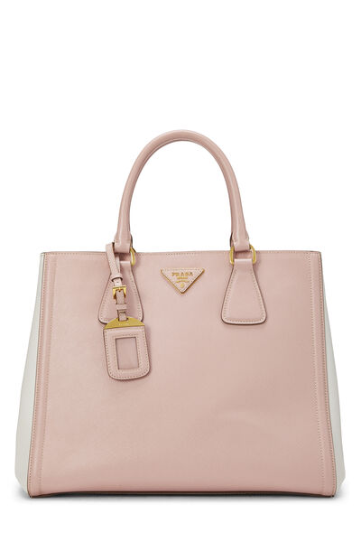 Pink & Ivory Saffiano Bicolor East West Tote