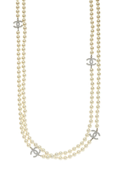 Silver Crystal 'CC' & Faux Pearl Necklace XL, , large