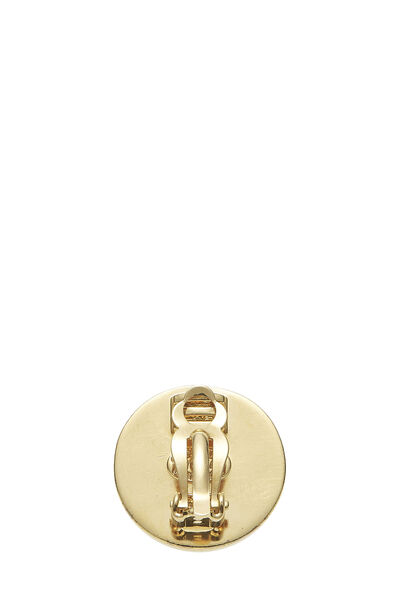 Gold 'CC' Turnlock Circle Earrings Small, , large