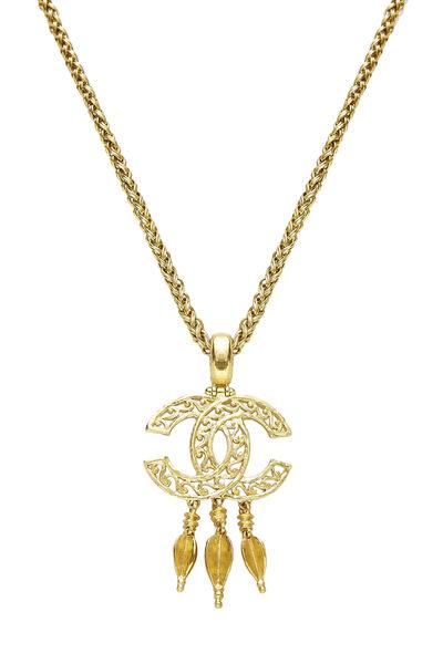Gold 'CC' Fretwork Dangle Necklace, , large