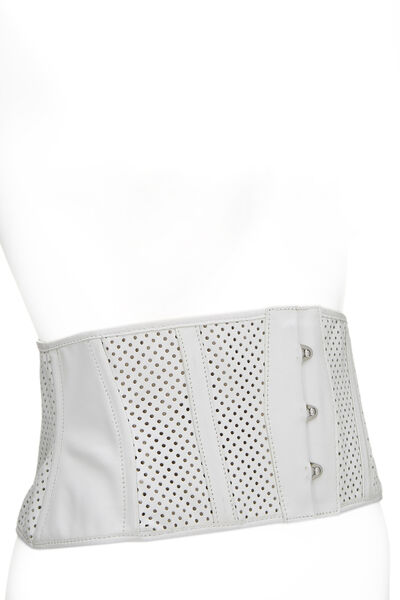 White Perforated Leather Corset Belt, , large