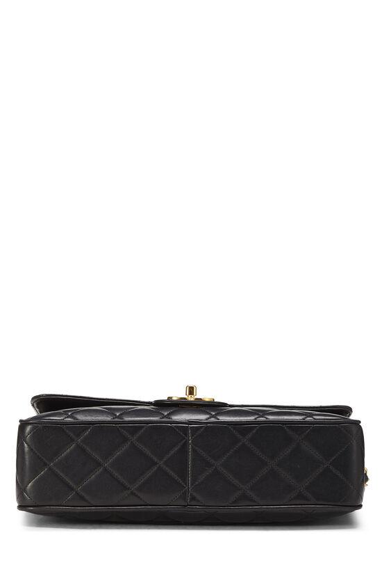 Black Quilted Lambskin Shoulder Bag Large, , large image number 4