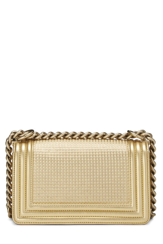 Metallic Gold Quilted Calfskin Boy Bag Small, , large image number 4