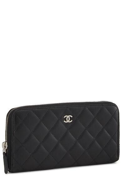 Black Quilted Lambskin Zip Wallet, , large