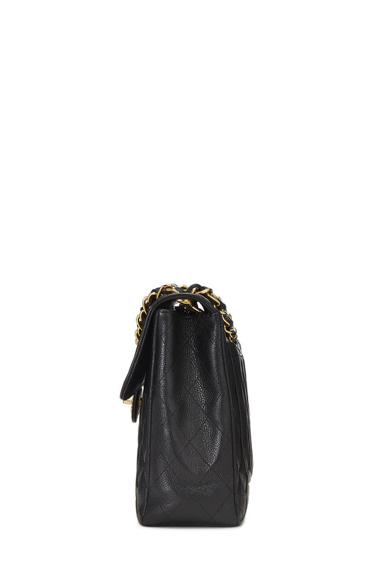Black Quilted Caviar Half Flap Jumbo, , large image number 2