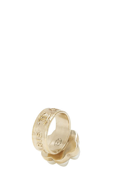 Gold & Faux Pearl Flower Ring, , large