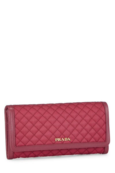 Pink Quilted Tessuto Long Wallet, , large