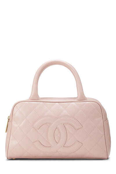 Pink Quilted Caviar Bowler Mini