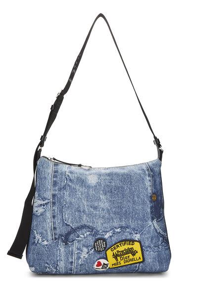 Blue Denim Canvas Diorella Messenger Bag