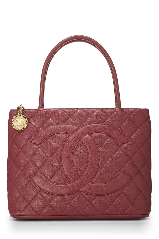 Magenta Quilted Caviar Medallion Tote, , large image number 0