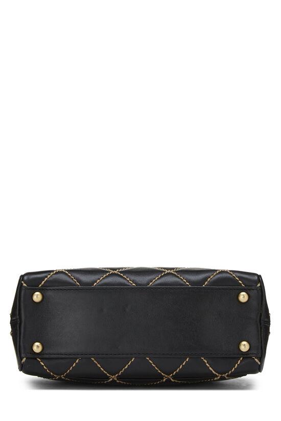 Black Leather Wild Stitch Boston Handbag, , large image number 4