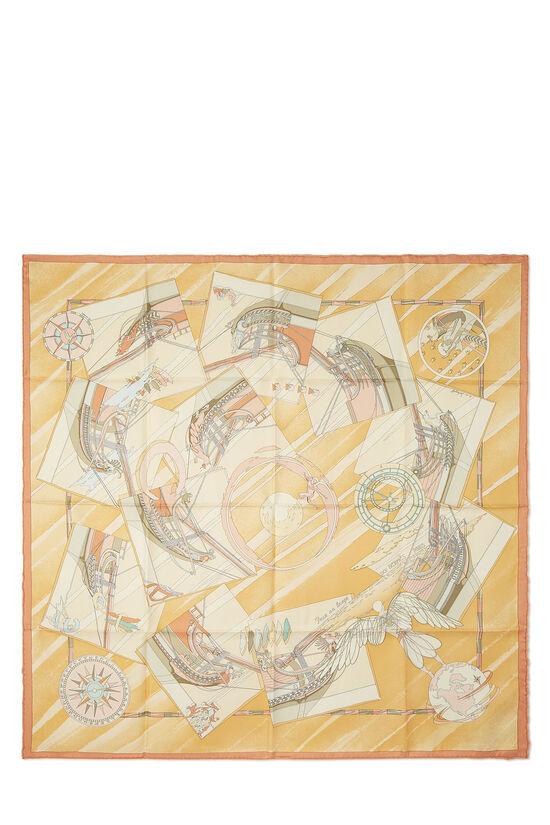 Orange 'Face Au Large' Silk Scarf 90, , large image number 0