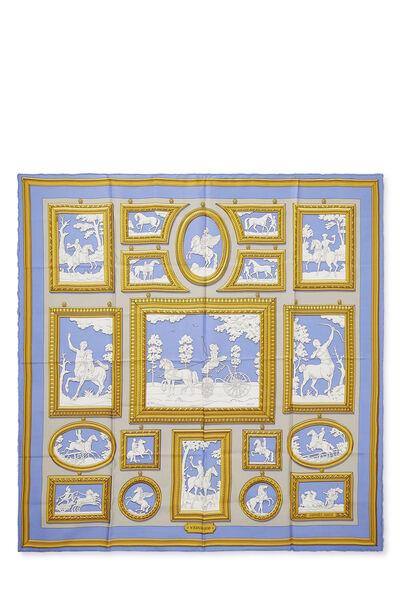 Blue & Multicolor 'Wedgwood' Silk Scarf 90