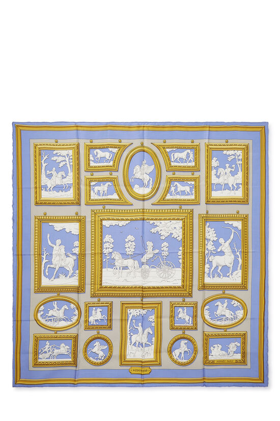 Blue & Multicolor 'Wedgwood' Silk Scarf 90, , large image number 0