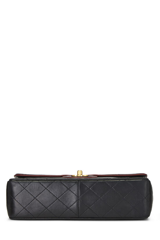 Black Quilted Lambskin Piped Half Flap Small, , large image number 4