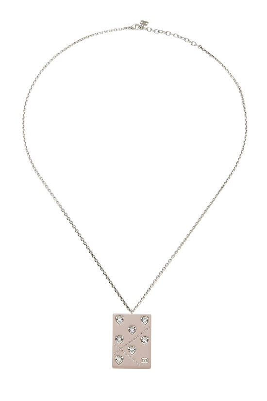 Pink Acrylic Crystal Heart Necklace, , large image number 0