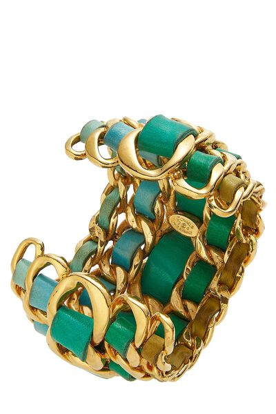 Gold Chain & Turquoise Leather Cuff, , large