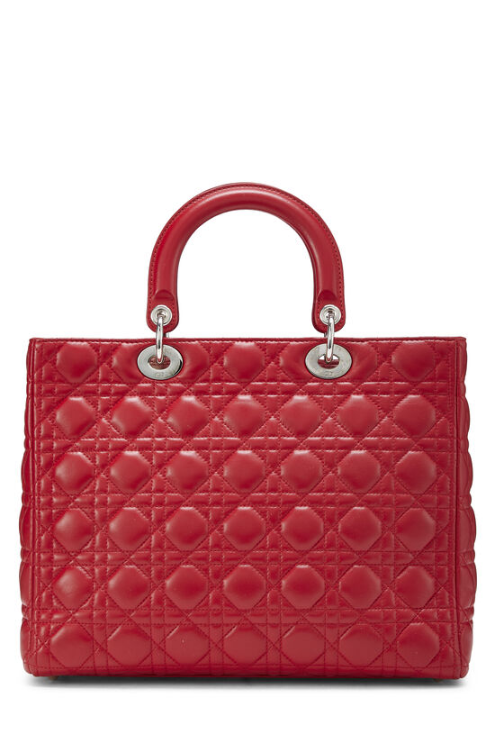 Red Cannage Quilted Lambskin Lady Dior Large, , large image number 3