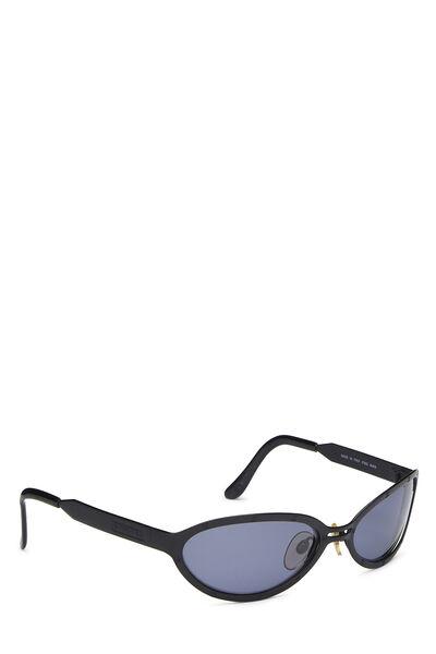 Black CC Metal Oval Sunglasses, , large