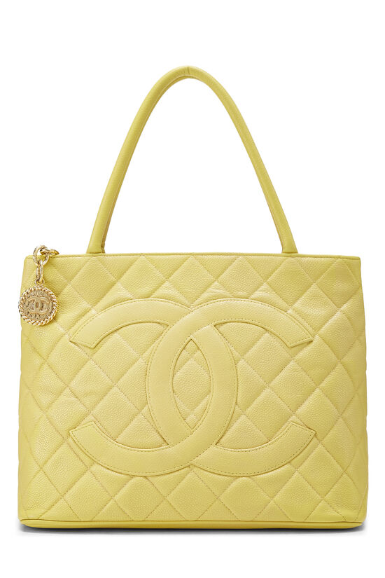 Yellow Quilted Caviar Medallion Tote, , large image number 0