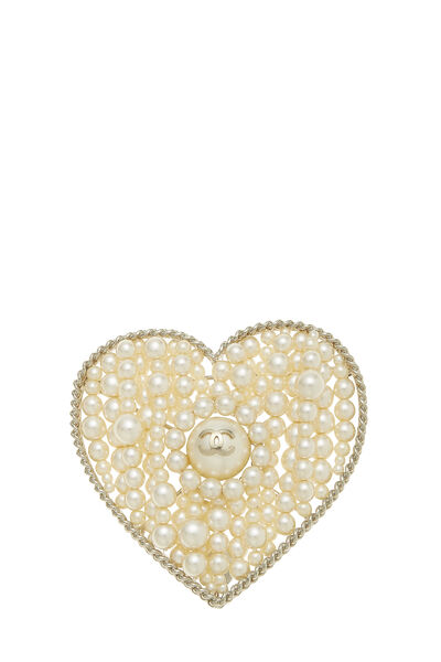 Gold & Faux Pearl Heart Pin