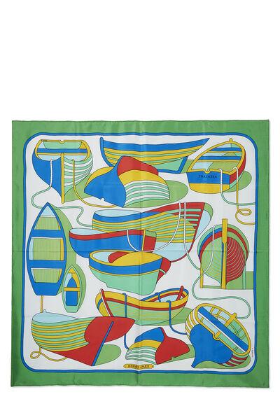 Green & Multicolor 'Thalassa' Silk Scarf 90