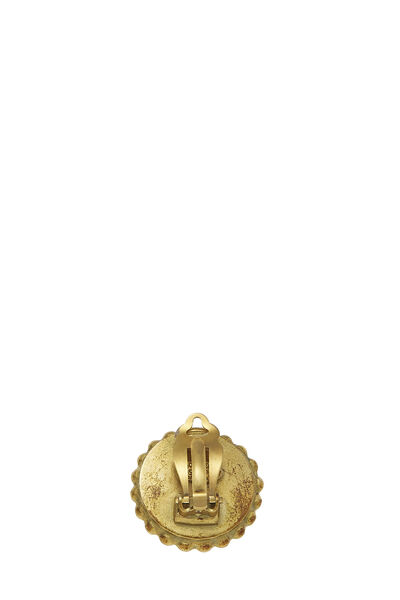 Black & Gold 'CC' Round Dot Border Earrings, , large
